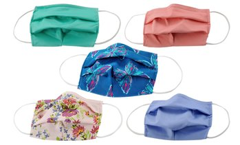 5-Pack Pleated Reusable Cotton Non-Medical Masks with Adjustable Nose Bridge