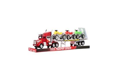Toy Truck Trailer W/ Dirt Bikes fe9bd79a-5d0c-4b17-9866-ee70a0b0040e