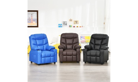 Costway Kids Youth Recliner Chair PU Leather w/Cup Holders & Side Pockets