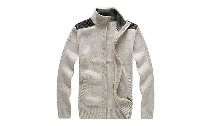 2016 Man Sweater knitted Stand Collar Wool Blended Solid Color Zipper  - Khaki / Medium
