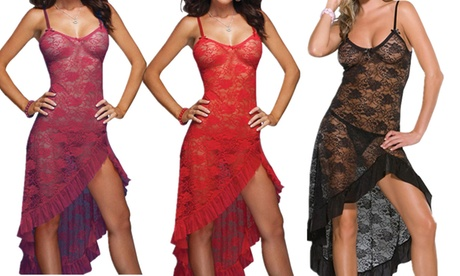 LESIES Women's Sexy Lingerie Set Lace Babydoll Nightwear with Thong