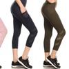 High waist tummy control cropped yoga legging with mesh pockets