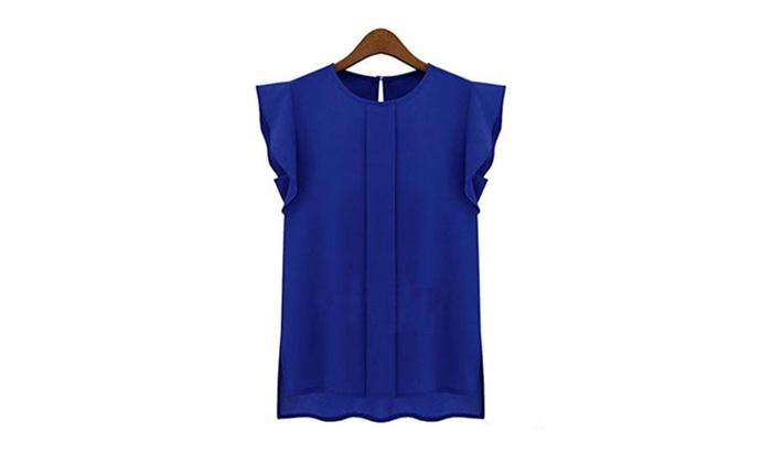 Zmart Women's Ruffle Sleeve Chiffon Blouse Shirt Update