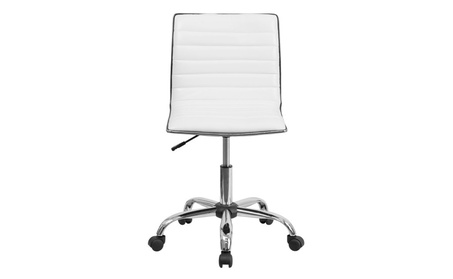 Flash Furniture Low Back Designer Armless White Ribbed Swivel Chair 57b13e70-4d36-44f0-9e56-7c47ebbe127c