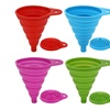 Set of 4 Silicone Collapsible Small Folding Funnel