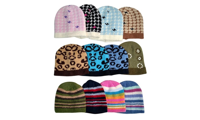 Womens Winter Fuzzy Hats, Houndstooth, Stripes, Animal Print, 12 Pack