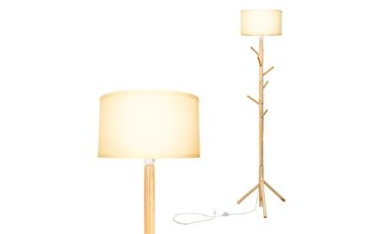 Costway Modern Wood Tripod Standing Floor Lamp Coat Rack for Living Room Bedroom