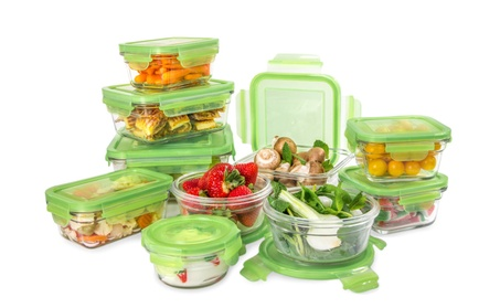 Glasslock Green Lid: 20pc Tempered Glass set~Microwave & Oven Safe photo