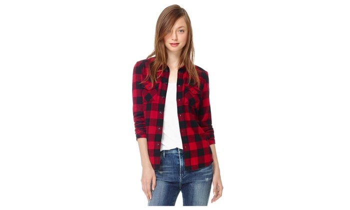 Women's Long Sleeves Classic Plaid Shirt - TCWSB730
