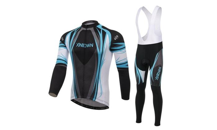 Men's Long Sleeve Cycling Jersey And 3D Padded Bib Pants