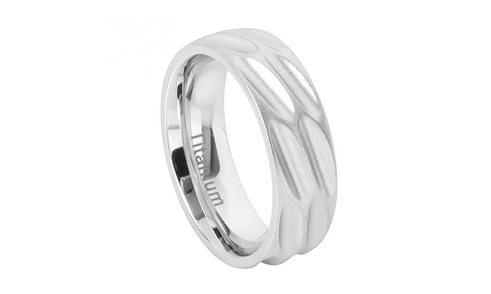 8mm White Anium Brushed Flat Scooped Design Wedding Band Ring