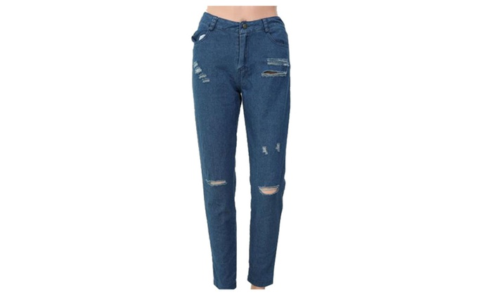 Women's Fashion Solid Jeans Mid-Rise Ripped Jeans
