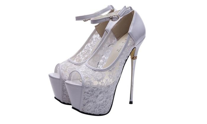 fc96150c9d8 getmorebeauty Women s Lace Flower Strappy Hollow High Heels