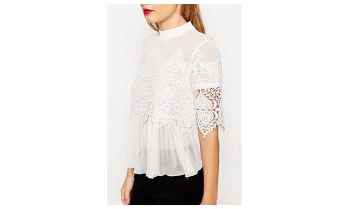 Women Sheer Lace Designed Collar Neck Shirt & Blouse - ZWWSB778-777