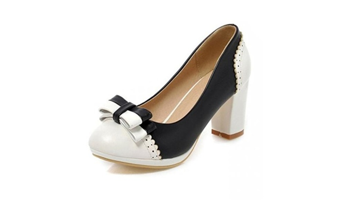 Women's Sweet Bowknot Round Toe Pumps Chunky Mid Heel Shoes