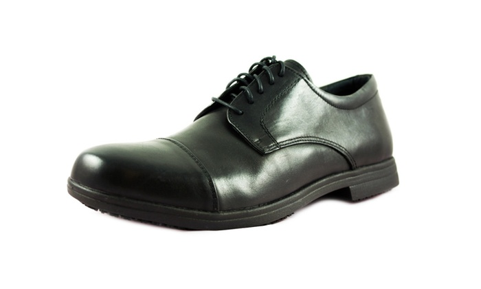 Men's Slip and Oil Resistant Five-eyelet oxford Lace Up Shoes for Work
