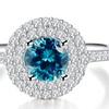 JSD Sterling Silver Round Gemstone Halo Ring