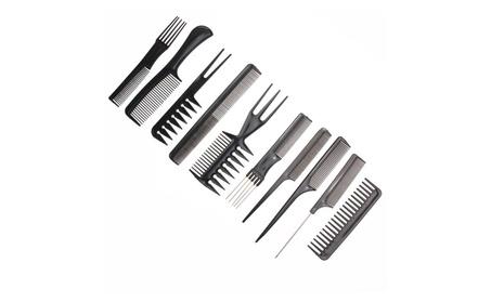 10pcs Hairdressing Salon Combs Set Black Plastic Barbers Hair Brush 18f98728-7036-44e8-b707-ede8aba95318