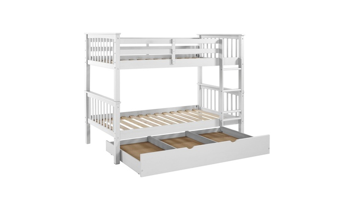 Offex Solid Wood Twin Bunk Bed With Trundle Bed White Groupon