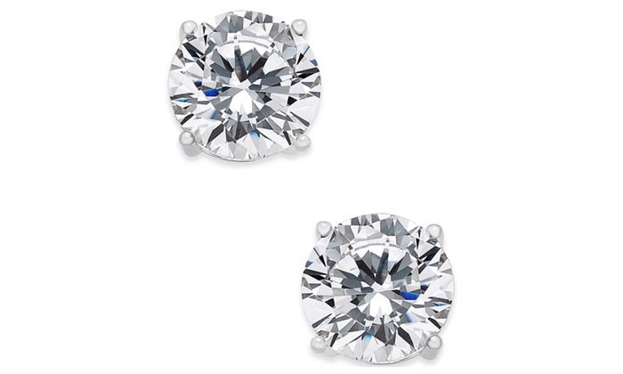 Sterling Silver 2 Carat Round White Cubic Zirconia Stud Earrings