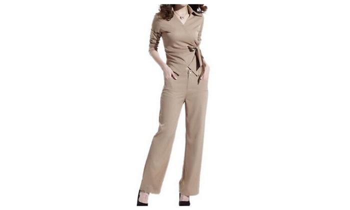 Women's OL Slim Long-sleeve Pantsuit Fashion Dress Pant Suit Set