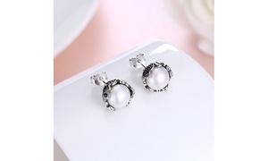 Freshwater Pearl Filigree Design Crown Stud Earrings