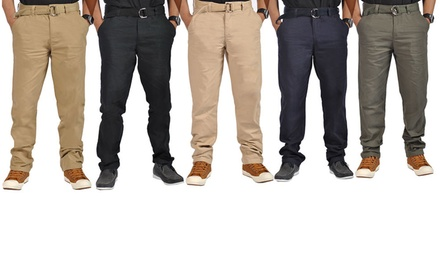 Men's Belted Casual 100% Cotton Chinos Pants