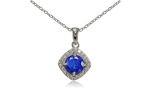 Sterling Silver Simulated Blue Sapphire 7mm Round and CZ Accents Necklace