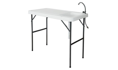 Portable Folding Table Cleaning Cutting Camping Picnic with Sink Faucet