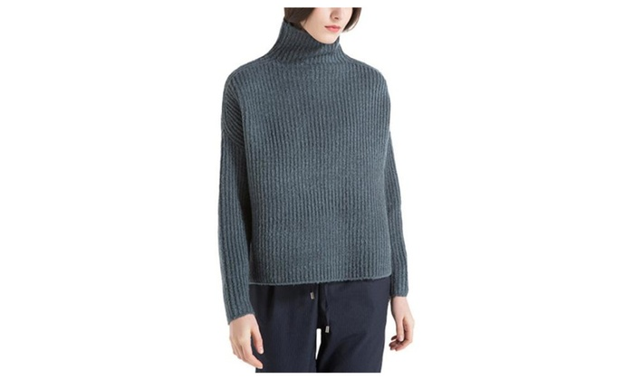 Women's Straight Hem Casual Textured Simple Pullovers Sweater