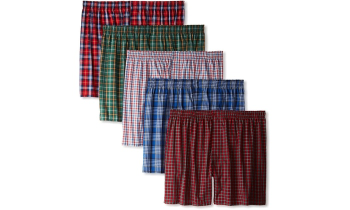 Hanes Mens Classics 5 Pack Tartan Plaid Boxer
