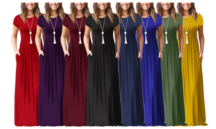 f0e14f9c96bf Women s Casual Short Sleeve Loose Plain Long Maxi Dress with Pockets ...