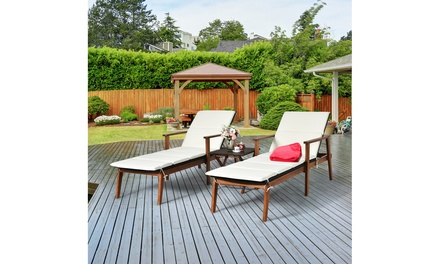 Costway 3PCS Patio Rattan Lounge Chair Folding Table Set Chaise Wood Cushioned