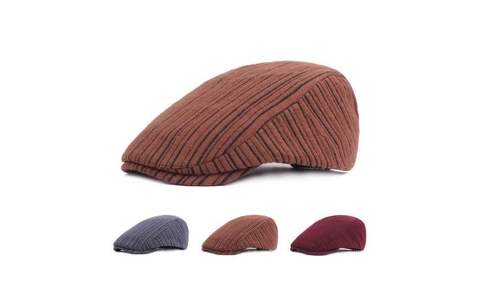 Winter Outdoor Unisex Striped Thick Warm Beret Hat  de51799f9030