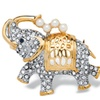 Crystal and Simulated Pearl Elephant Pin in Yellow Gold Tone