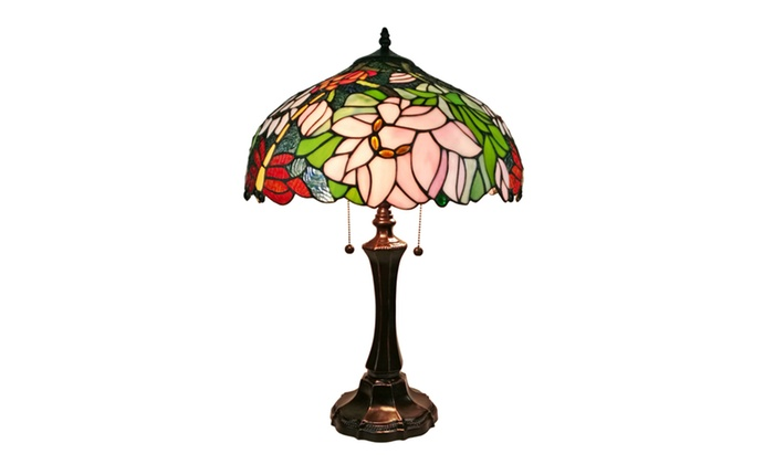 Groupon goods am1103tl16 tiffany style floral design table lamp 25 tall