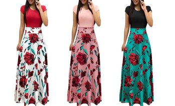 Women's Fashion Short-Sleeved Floral Print Color Matching General Dress