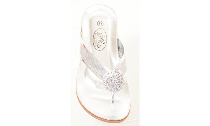 d79dbd72a226a Silver Metallic Crystal Rhinestone Slide Thong Flip Flop Sandals Women