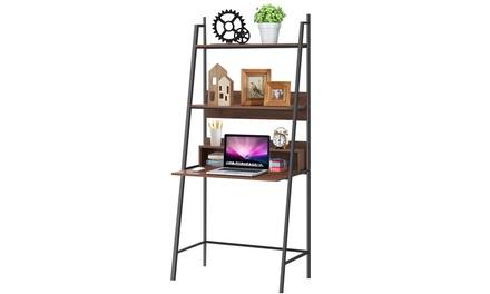 Costway Ladder Computer Desk Bookcase Wall Bookshelf Laptop Desk