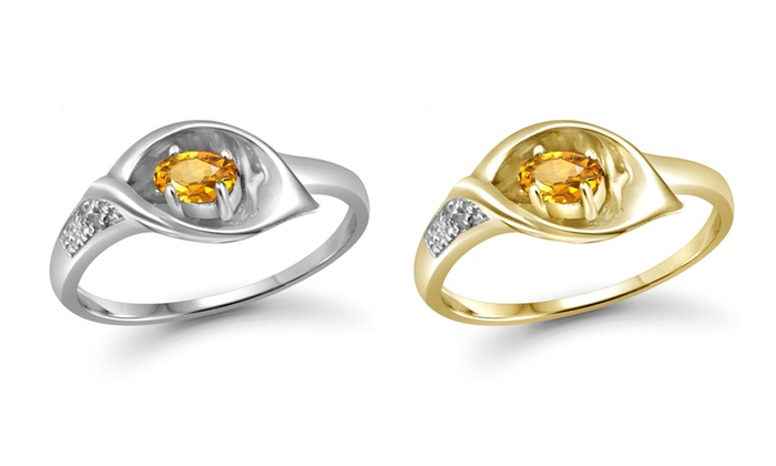 Groupon Goods: Jewelonfire 0.22 CT Citrine & Accent White Dia Ring in SS 13872