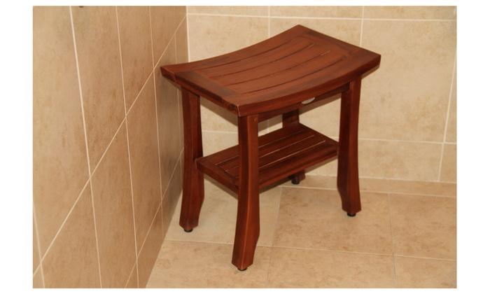 ... ALA TEAK 18 Satori Wood Shower Bath Spa Waterproof Bench Stool Shelf