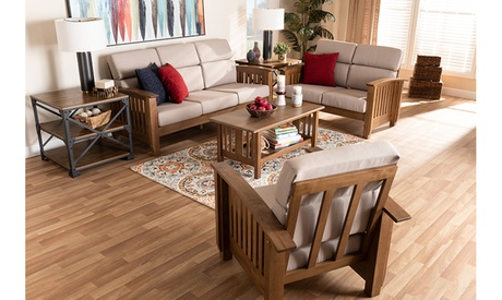 Charlotte Taupe Fabric Walnut Brown Wood Living Room Chair Loveseat Sofa