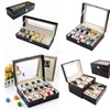 PU Leather Watch Box Display Glass Top Jewelry Case Organizer