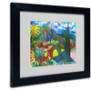 'House By the Mountain' Matted Black Framed Art