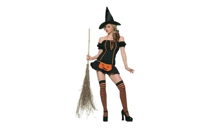 Pumpkin Witch Halloween Costume with Hat for Women