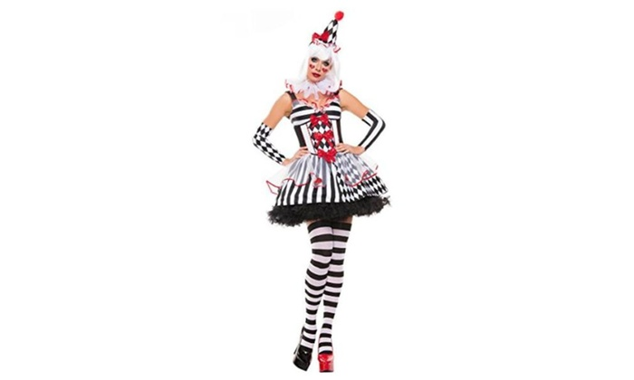 NonEcho Sexy Costumes Novelty Clown Halloween Outfit for Women – White / One Size