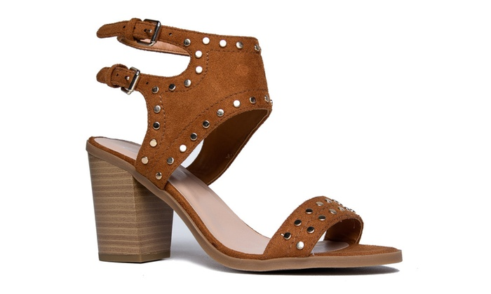 Studded Suede Cut Out Sandal - High Heel Buckle Shoe