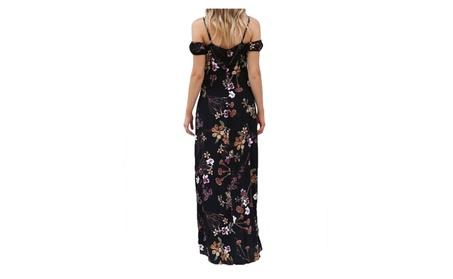 Condole belt v-neck printing split beach dress for women 52efc19d-84f6-44dc-9c5e-d8fc322f5e85