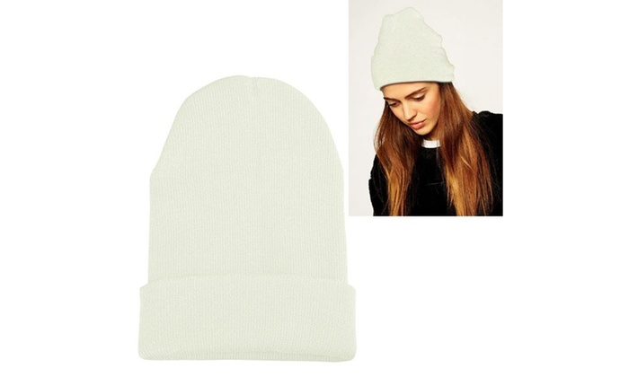 Zodaca White Unisex Knitted Beanie Fashion Hat
