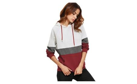 Women's Hoodies Long Sleeve Splice 3 Color Hooded Sweatshirt 2912a6ce-de7a-4ce7-a0b6-fc77167e549f